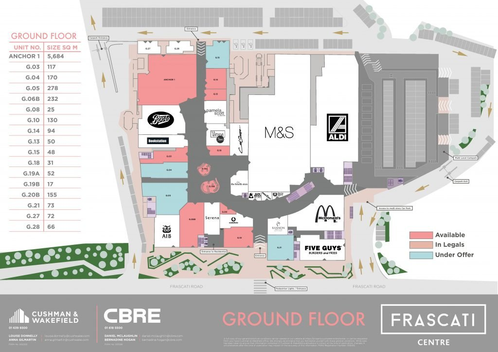 Frascati Centre leasing plans map Sept 2020